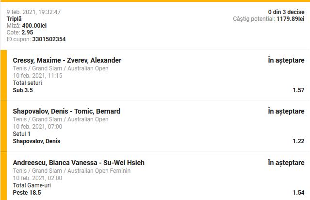 bilet australian open 2021 cota 2.95
